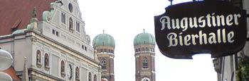 Blick augustiner Bierhalle Frauenkirche