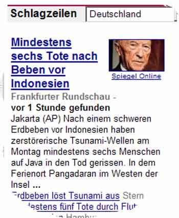 Verwirrend: Google illustriert Tsunami mit Adenauer