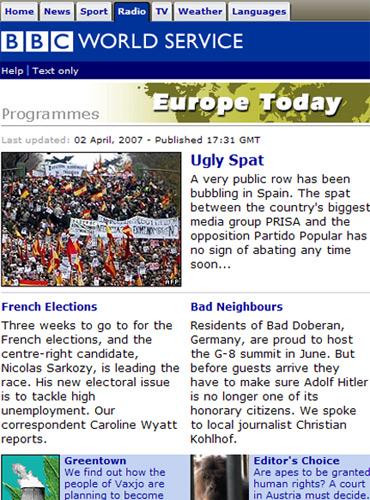 Screenshot der BBC-Website mit meinem Namen