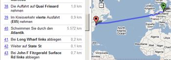 Screenshot Google Maps: Durch den Atlantik schwimmen