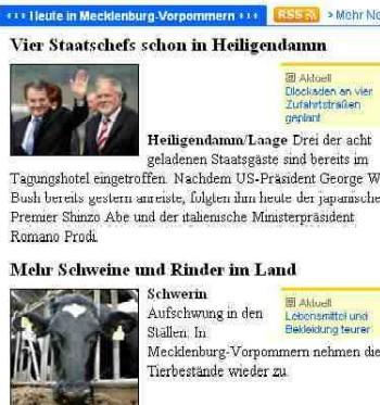 Screenshot Ostseezeitung