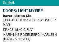 Ausschnitt Playlist NDR1 Radio MV: Marianne Rosenberg und The Doors