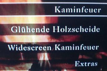 Auswahl auf einer Kaminfeuer-DVD mit Schreibfehler: Holzscheide statt Holzscheite.