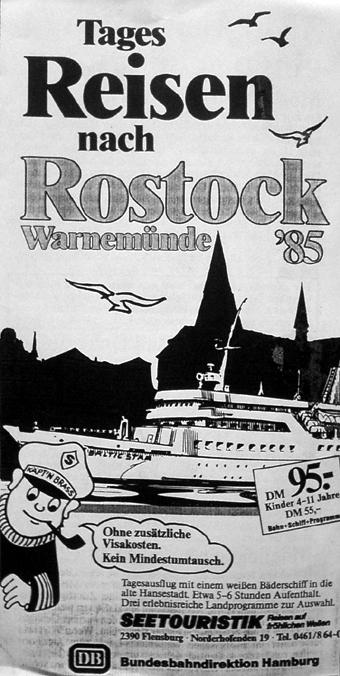 Flugblatt: Werbung für Ausflüge nach Warnemünde 1985