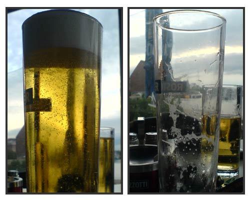 Vergleich volles und leeres Alsterwasser-Glas