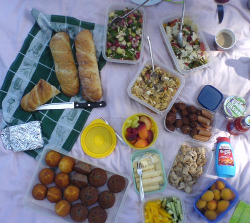 Picknickdecke mit diversen Schüsseln und Tellern voll Obst, Kuchen, Fleisch und Salaten