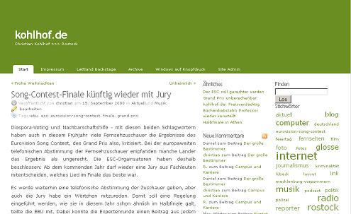 Screenshot kohlhof.de für die Rubrik aktuell