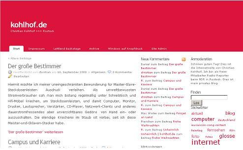 Screenshot kohlhof.de normale Darstellung