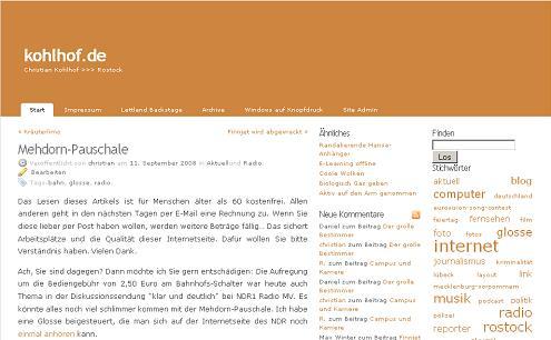 Screenshot kohlhof.de für die Rubrik Radio