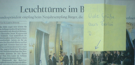 Zeitungsausschnitt Empfang Bundespräsident