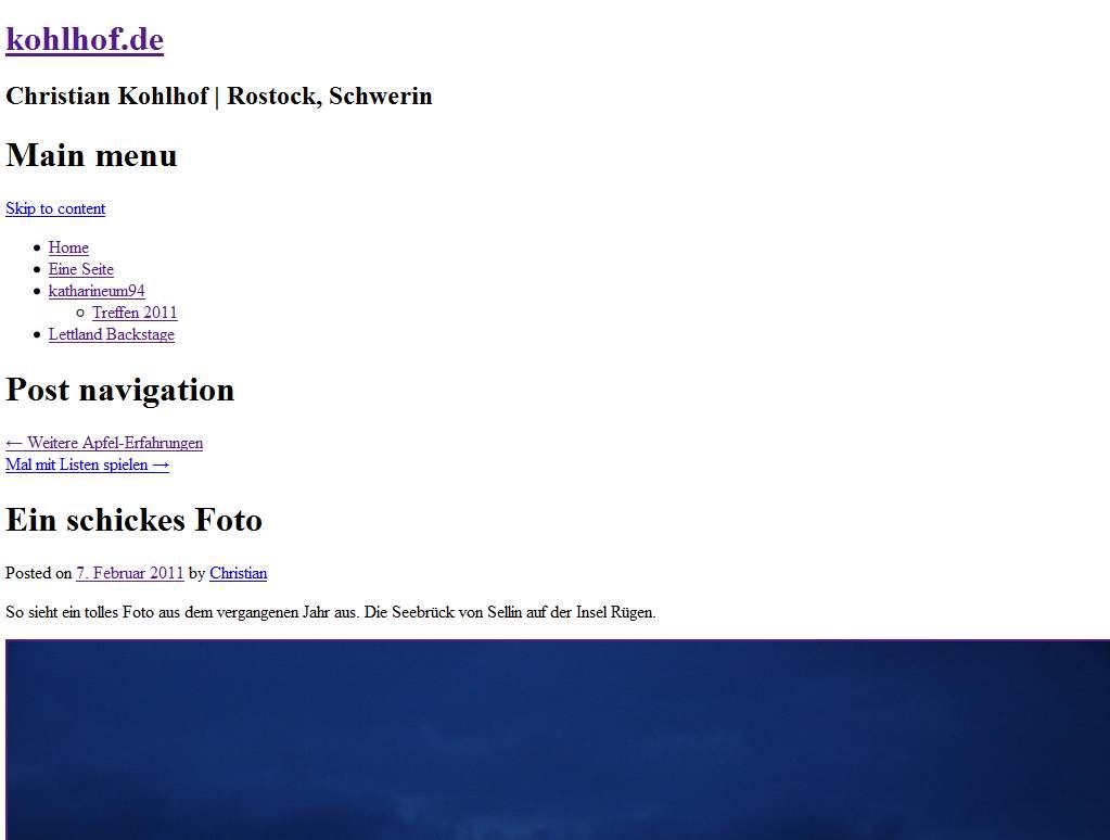 Screenshot von kohlhof.de ohne Style-Sheet