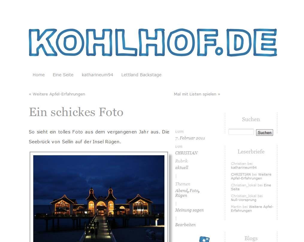 """Screenshot von kohlhof.de mit dem neuen Theme """"kritzel"""""""