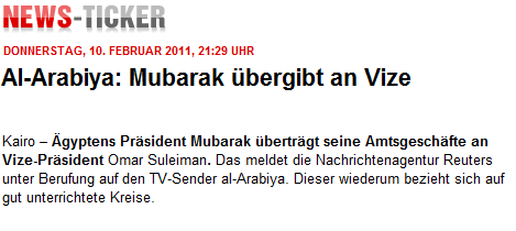 Bild.de war kurz nach dem Ende der Mubarak-Rede noch nicht auf dem neuesten Stand.