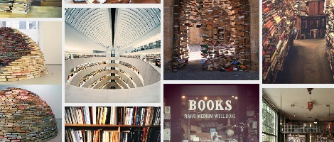 Ausriss von bookshelfporn mit Fotos von Buchregalen