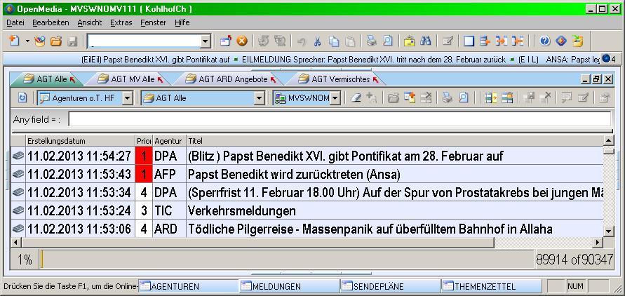 Screenshot der ersten Agenturmeldung