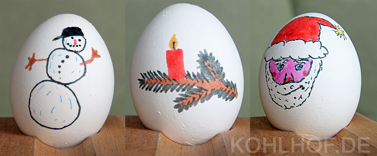 Weihnachtlich bemalte Ostereier 2013 von kohlhof.de