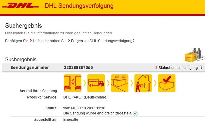 Screenshot von dhl.de