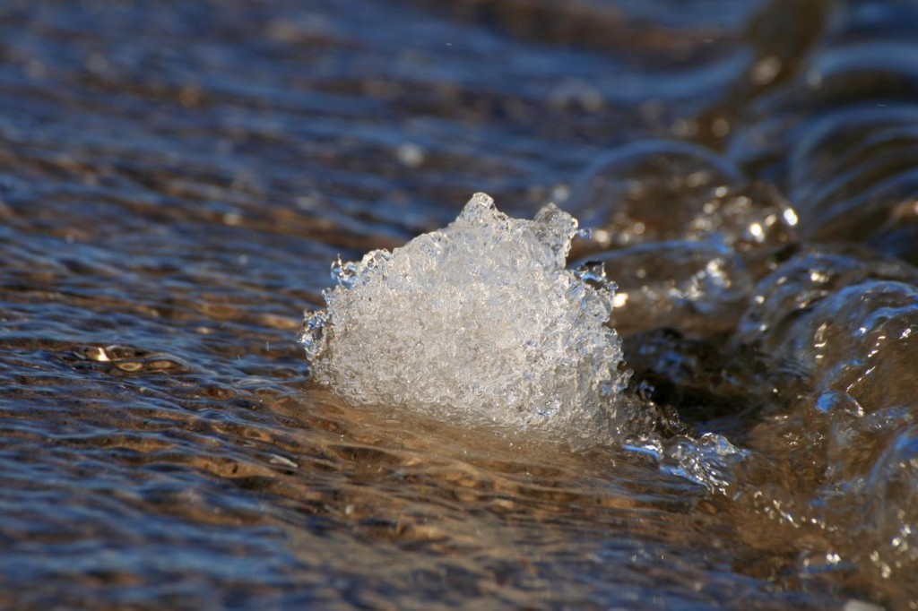 Eisklumpen im Wasser