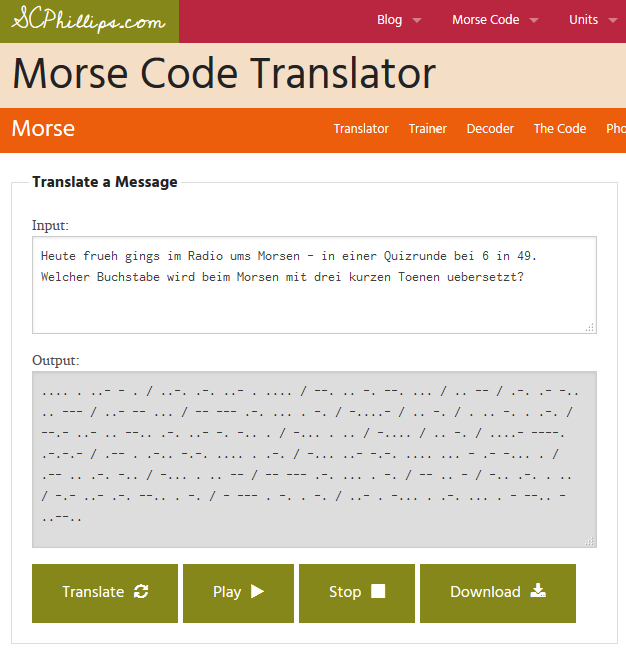 Screenshot des Morse-Code-Translators.