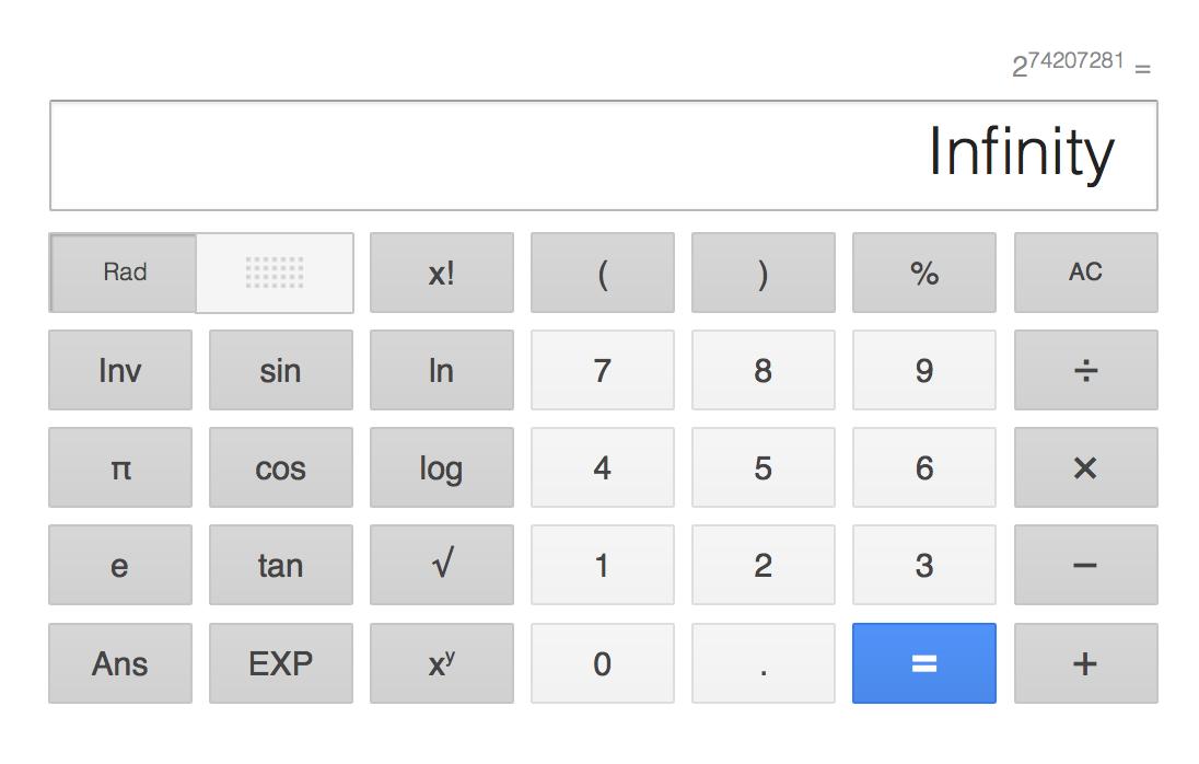 """Screenshot vom Google-Rechner mit der Ausgabe """"Infinity"""""""