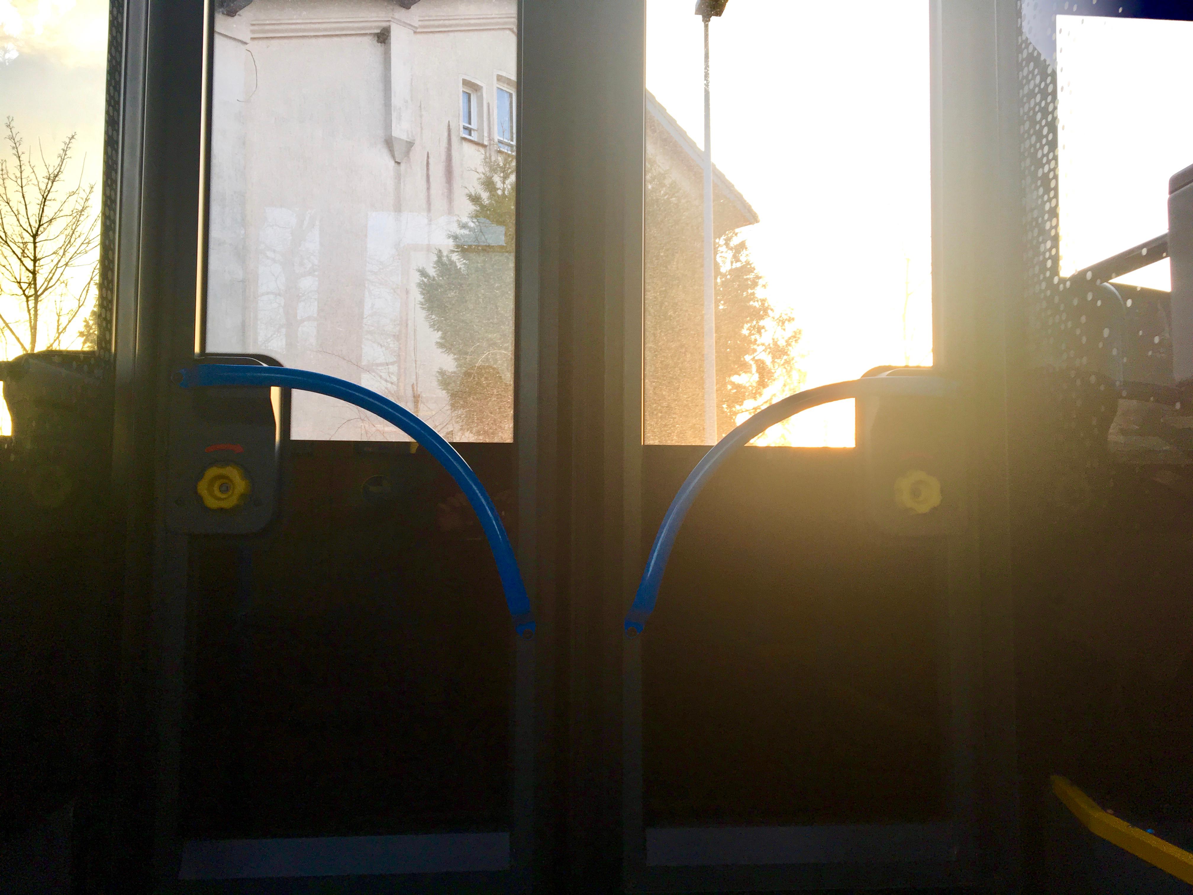 Die verschlossenen Türen eines Omnibusses von innen.