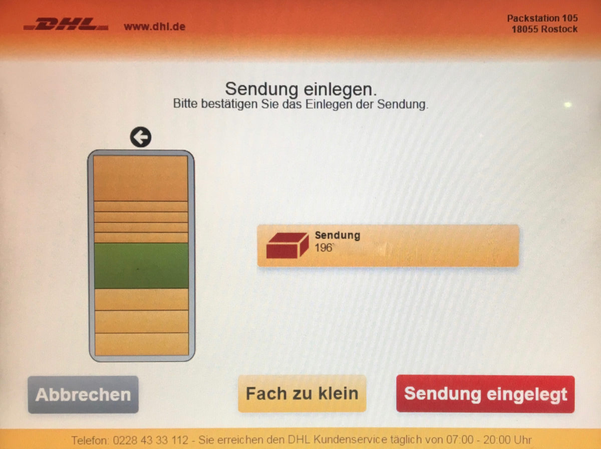 Screenshot einer DHL-Packstation