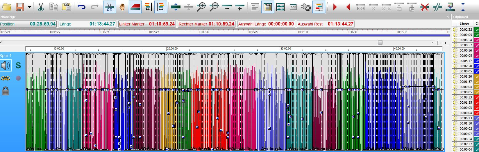 Bunte Tonspuren in einem Audio-Schnittprogramm mit sehr vielen schwarzen Schnittmarken.