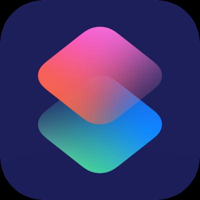 Kurzbefehl-App-Icon aus iOS: Ein dunkelblaues Quadrat mit rosa-hellblauen Rauten